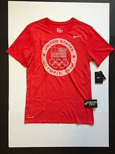 Nike US Olympic Team Dri-Fit Athletic Shirts 801141-672 Red Mens Size M
