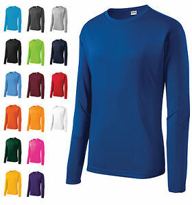 MEN'S MOISTURE WICKING DRY FIT SPORT-TEK Long Sleeve T-SHIRT NEW XS-2XL ST350L