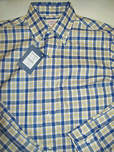 Brooks Brothers Woven Cotton Twill Plaid Button Down Sport Shirt NWT Small $225