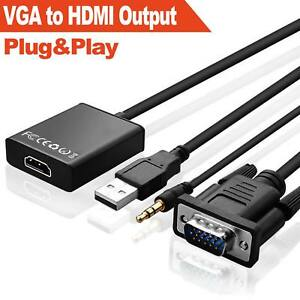 VGA Male To HDMI Output 1080P HD+ Audio TV AVHDTV Video Cable Converter Adapter