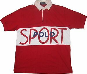 Polo Sport Ralph Lauren Spell Out USA Flag Vtg Rugby Shirt