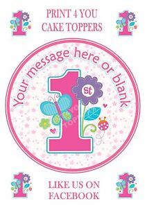 ND2 1st Girl flowers butterflies Birthday personalised round cake topper icing