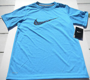 NWT Boys Nike ss T shirt sz small turquoise with mosaic swoop dry fit