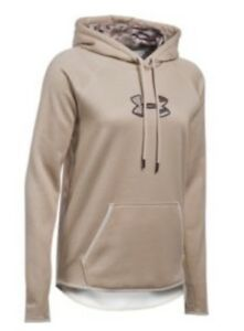 NWT Under Armour Women Storm Icon Caliber Camo Logo Hoodie 1286058 Oatmeal XXL