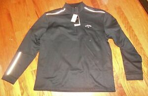 Nwt Mens Callaway Golf Black LS Half Zipper Shirt Opti Shield XL $80