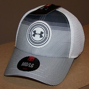 *RARE* Under Armour Mens GOLF Mesh Stretch Fitted Hat MEDIUM  LARGE  White Grey