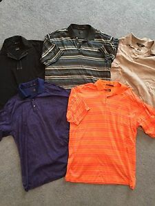 TIGER WOODS collection NIKE golf polo shirts (5) medium small dri fit black blue