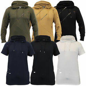 mens ripped sweatshirt top Soul Star long line hooded pullover t shirt winter