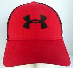 AUTHENTIC UNDER ARMOUR GOLF RED BLACK FITTED YOUTH SMALL MED HAT