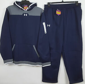 UNDER ARMOUR COLDGEAR SWEATSUIT HOODIE +PANTS NAVY BLUE GREY NEW (SIZE XLT  XL)