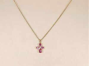Golden Sterling Silver .925 Pink Cross Necklace