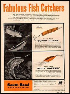 1958 South Bend Lures Super Duper Rock Hopper Fish Catchers Vintage Print Ad