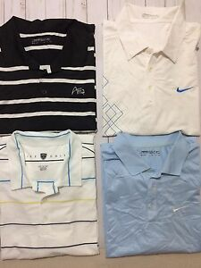 LOT OF 4 NIKE GOLF DRI FIT DRY TOUR PERFORMANCE MENS POLO SHIRT SIZE 2XL
