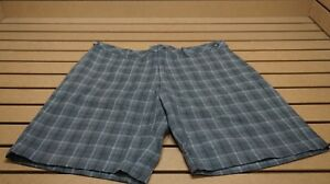 New  Ashworth Golf Plaid Shorts Mens Size  34 Grey  20D