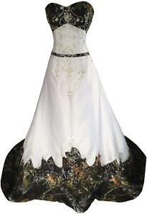 Strapless Camo Wedding Dresses Embroidery Beaded Bridal Evening Dress Prom Gowns