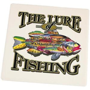The Lures of Fishing Set of 4 Square Sandstone Coasters