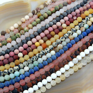 Wholesale Natural Matte Gemstone Round Spacer Loose Beads 4mm 6mm 8mm 10mm 12mm $4.99
