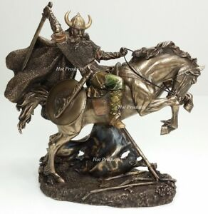 10quot; NEW VIKING WARRIOR Rearing on Horse Statue Sculpture Antique Bronze Finish