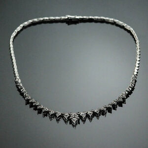 HIGH END 5.00 CT. BLACK DIAMOND NECKLACE 16 INCHES LONG 18K WHITE GOLD