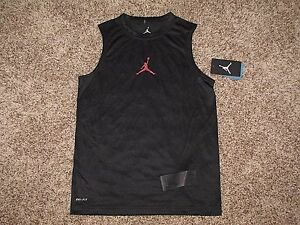 NIKE AIR JORDAN JUMPMAN BOYS DRI-FIT BLACK SHIRT SLEEVELESS S M L XL