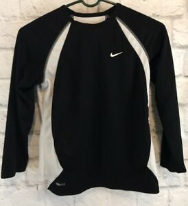 Nike Fit-Dry Boys Youth  Shirt Long Sleeve Black White Vented Small EUC
