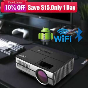 2800lm Mini Android 6.0 Smart Projector WiFi Bluetooth Home Theater TV WLAN HDMI