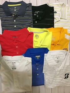 LOT 9 ATHLETIC GOLF POLO SHIRTS POLYESTER NIKE DRI FIT ADIDAS ANTIGUA SZ 2XL