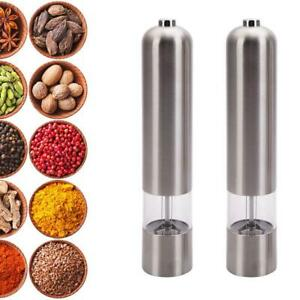 2 Pack Electric Spice Salt Pepper Mill Grinder Stainless Steel Muller Home Tools