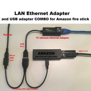 Amazon Fire Stick ETHERNET ADAPTER & USB OTG cable REDUCE BUFFERING TV xStream