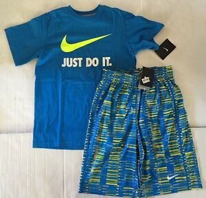 NWT Nike Youth Boy Blue Swoosh T Shirt Dri-fit Basketball Shorts Sz M Lot