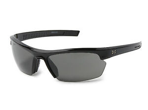 New $80 Under Armour UA Stride XL Sport Sunglasses Shiny Black Gray 8600041-5100