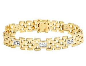Men's 10K Yellow Gold Real Diamond 7MM Italian Stampato Link Bracelet 1 CT 8.5