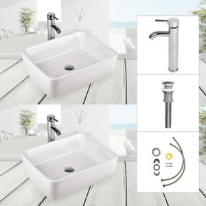 Set Of 2 Bathroom Ceramic Vessel Sink Rectangle  Porcelain Basin Bowl Faucet Set