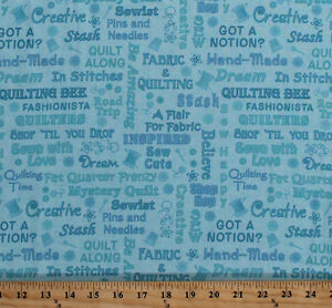 Sewing Quilters Seamstress Shopping Words Blue Cotton Fabric Print BTY D507.14 $10.95