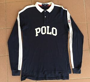 VTG POLO SPORT RALPH LAUREN SPELL OUT FLAG USA RUGBY SHIRT P WING 92-93 HIP HOP
