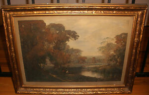 Antique hand colored litho opulent autumn Sir Alfred East R.A.England 1849-1913