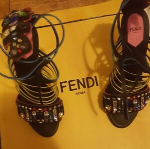 Women Fendi bejeweled heel size 8 Mint Condition Worn only once.