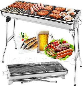 Fold Barbecue Charcoal Grill Stove Shish Kabob Stainless Steel BBQ Patio Camping $38.99