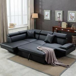 Contemporary Sectional Modern Sofa Bed - Black with Functional Armrest  Back L