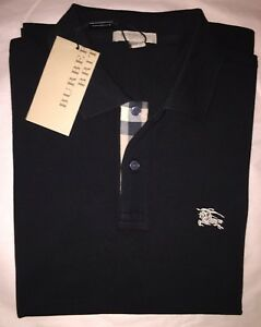 Burberry Brit Men's Check Placket Polo Shirt Black S  M L XL XXL XXXL 3XL