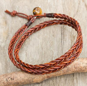 Leather Handmade Braided Bracelet Wrap - Men and Women Unisex Punk Wristband