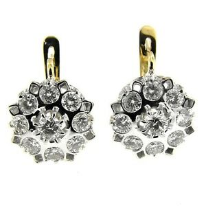 3.55 CT WHITE & YELLOW GOLD RUSSIAN STYLE ANTIQUE DESIGN DIAMOND EARRINGS 14 KT