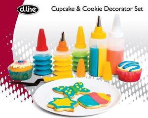 NEW D.LINE COOKIE & CUPCAKE DECORATION SET STAINLESS STEEL TIPS BAKEWARE GADGETS