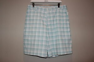 MENS NIKE FIT DRY GOLF SHORTS WHITE GREEN PLAID PRE-OWNED CONDITION SIZE 34