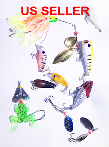 USA Lot PCS Fishing Lures CrankBaits Hooks Baits Tackle Spinner frog shrimp Box