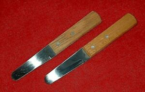 Set Of 2 Aronson Clam Oyster Knife Stainless Steel Riveted Wood Oak Handle $7.50