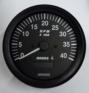 Tachometer/Hourmeter 0-4000 RPM Alternator Signal Gauge Black Bezel +12V 100mm