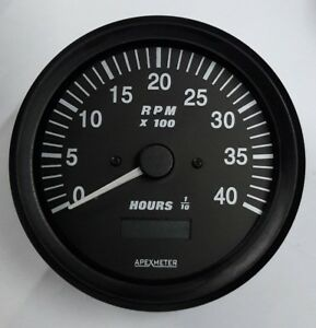 Tachometer/Hourmeter 0-4000 RPM Magnetic Pickup Gauge Black Bezel +24V 100mm