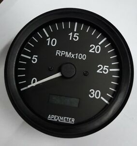 Tachometer/Hourmeter 0-3000 RPM Magnetic Pickup Gauge Black  Bezel +24V 100mm