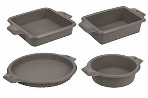 4-Piece Set Silicone Bakeware Molds - Nonstick Baking Supplies Set with Round